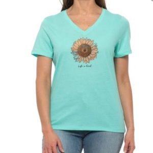 Life is good sunflower v-neck tee
